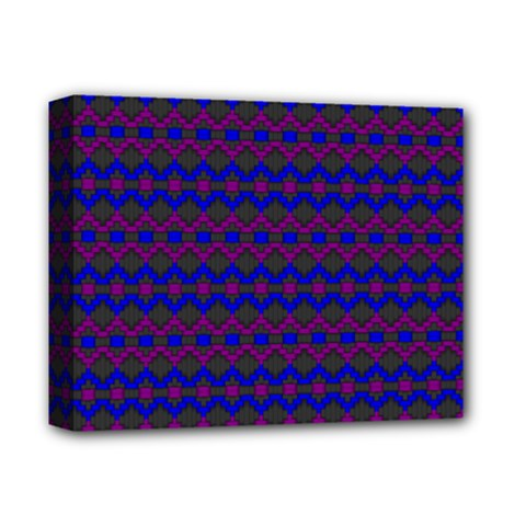 Split Diamond Blue Purple Woven Fabric Deluxe Canvas 14  X 11  by Mariart