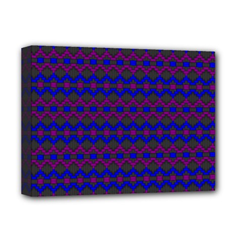 Split Diamond Blue Purple Woven Fabric Deluxe Canvas 16  X 12   by Mariart