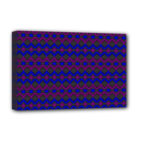 Split Diamond Blue Purple Woven Fabric Deluxe Canvas 18  X 12   by Mariart
