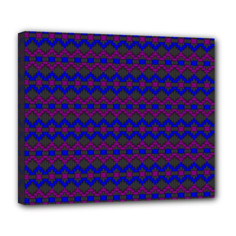 Split Diamond Blue Purple Woven Fabric Deluxe Canvas 24  X 20   by Mariart