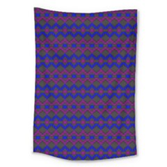 Split Diamond Blue Purple Woven Fabric Large Tapestry by Mariart