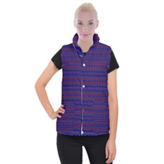 Split Diamond Blue Purple Woven Fabric Women s Button Up Puffer Vest by Mariart