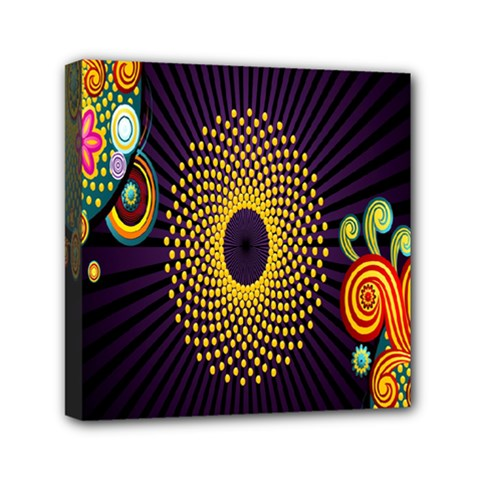 Polka Dot Circle Leaf Flower Floral Yellow Purple Red Star Mini Canvas 6  X 6