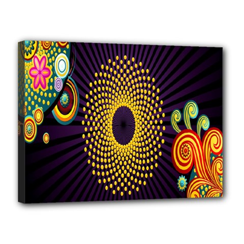 Polka Dot Circle Leaf Flower Floral Yellow Purple Red Star Canvas 16  X 12  by Mariart