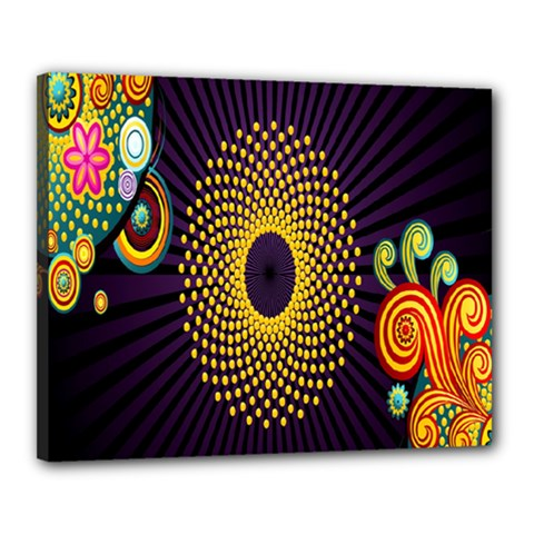 Polka Dot Circle Leaf Flower Floral Yellow Purple Red Star Canvas 20  X 16  by Mariart