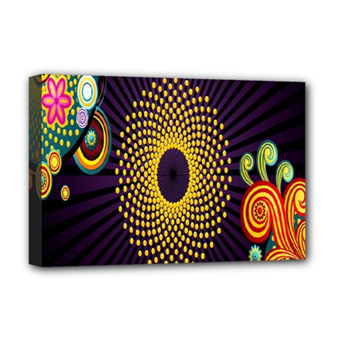 Polka Dot Circle Leaf Flower Floral Yellow Purple Red Star Deluxe Canvas 18  X 12   by Mariart