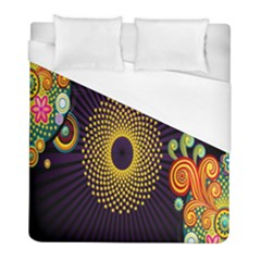 Polka Dot Circle Leaf Flower Floral Yellow Purple Red Star Duvet Cover (full/ Double Size) by Mariart