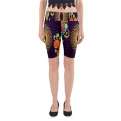 Polka Dot Circle Leaf Flower Floral Yellow Purple Red Star Yoga Cropped Leggings
