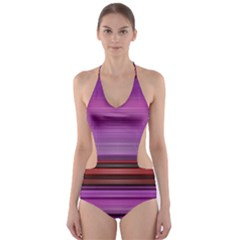 Stripes Line Red Purple Cut-out One Piece Swimsuit by Mariart