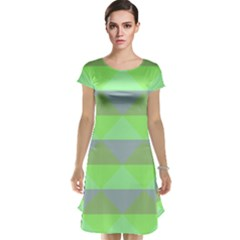 Squares Triangel Green Yellow Blue Cap Sleeve Nightdress by Mariart