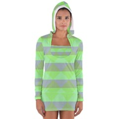 Squares Triangel Green Yellow Blue Women s Long Sleeve Hooded T-shirt by Mariart