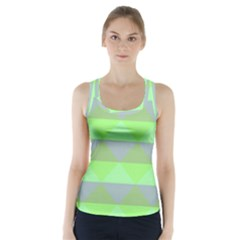 Squares Triangel Green Yellow Blue Racer Back Sports Top