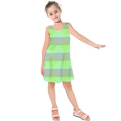 Squares Triangel Green Yellow Blue Kids  Sleeveless Dress by Mariart