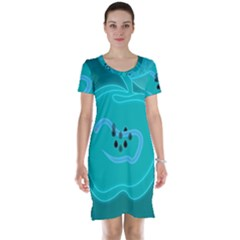 Xray Worms Fruit Apples Blue Short Sleeve Nightdress