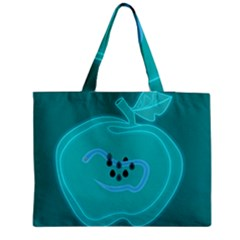 Xray Worms Fruit Apples Blue Medium Zipper Tote Bag by Mariart