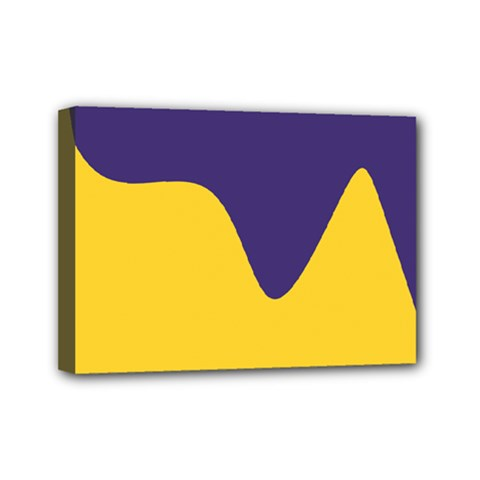 Purple Yellow Wave Mini Canvas 7  X 5  by Mariart