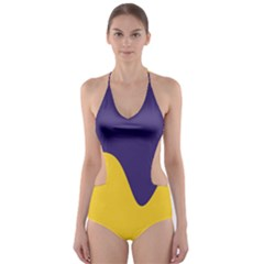 Purple Yellow Wave Cut Out One Piece Swimsuit by Mariart