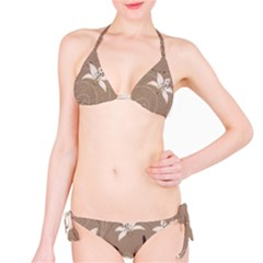 Star Flower Floral Grey Leaf Bikini Set by Mariart