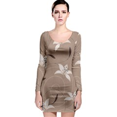 Star Flower Floral Grey Leaf Long Sleeve Bodycon Dress by Mariart