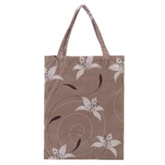 Star Flower Floral Grey Leaf Classic Tote Bag