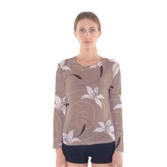 Star Flower Floral Grey Leaf Women s Long Sleeve Tee by Mariart