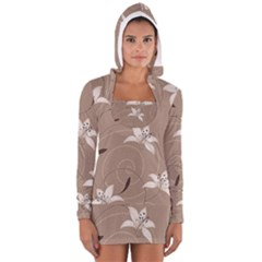Star Flower Floral Grey Leaf Women s Long Sleeve Hooded T Shirt by Mariart