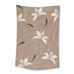 Star Flower Floral Grey Leaf Small Tapestry by Mariart
