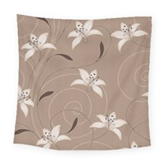 Star Flower Floral Grey Leaf Square Tapestry (large) by Mariart