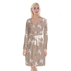 Star Flower Floral Grey Leaf Long Sleeve Velvet Front Wrap Dress