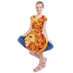 Zodiac Leo Kids  Short Sleeve Dress by Mariart