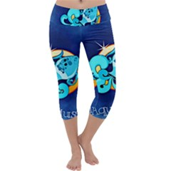 Zodiac Aquarius Capri Yoga Leggings by Mariart