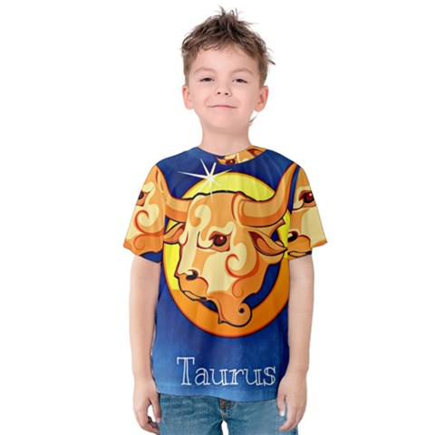 Zodiac Taurus Kids  Cotton Tee by Mariart