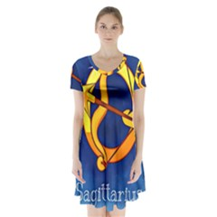 Zodiac Sagittarius Short Sleeve V Neck Flare Dress by Mariart
