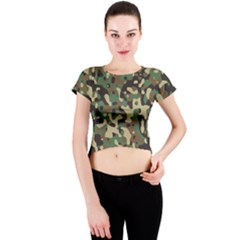 Army Camouflage Crew Neck Crop Top by Mariart