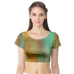The Waterfall Short Sleeve Crop Top (tight Fit) by digitaldivadesigns