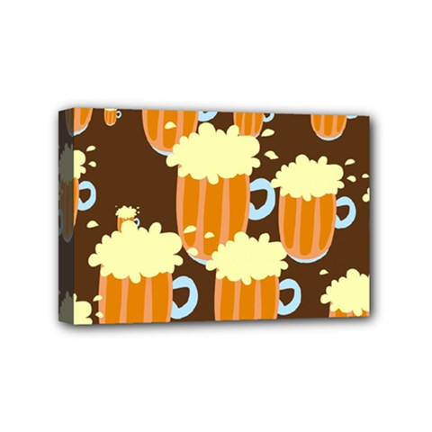 A Fun Cartoon Frothy Beer Tiling Pattern Mini Canvas 6  X 4
