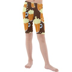 A Fun Cartoon Frothy Beer Tiling Pattern Kids  Mid Length Swim Shorts