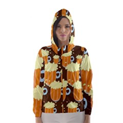 A Fun Cartoon Frothy Beer Tiling Pattern Hooded Wind Breaker (women)
