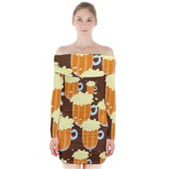 A Fun Cartoon Frothy Beer Tiling Pattern Long Sleeve Off Shoulder Dress