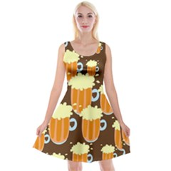 A Fun Cartoon Frothy Beer Tiling Pattern Reversible Velvet Sleeveless Dress
