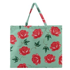 Red Floral Roses Pattern Wallpaper Background Seamless Illustration Zipper Large Tote Bag