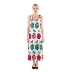 Watercolor Floral Roses Pattern Sleeveless Maxi Dress