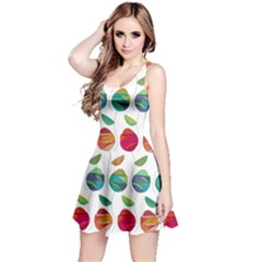 Watercolor Floral Roses Pattern Reversible Sleeveless Dress