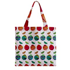 Watercolor Floral Roses Pattern Zipper Grocery Tote Bag