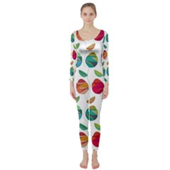 Watercolor Floral Roses Pattern Long Sleeve Catsuit