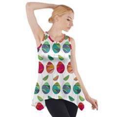 Watercolor Floral Roses Pattern Side Drop Tank Tunic