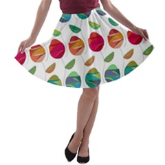 Watercolor Floral Roses Pattern A-line Skater Skirt