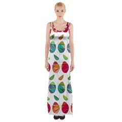 Watercolor Floral Roses Pattern Maxi Thigh Split Dress