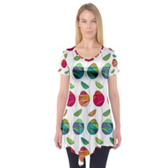 Watercolor Floral Roses Pattern Short Sleeve Tunic