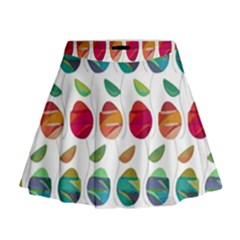 Watercolor Floral Roses Pattern Mini Flare Skirt